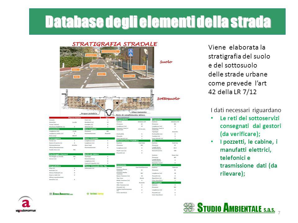Database degli elementi della strada Database degli elementi della strada Viene elaborata la stratigrafia del suolo e del sottosuolo delle strade urba