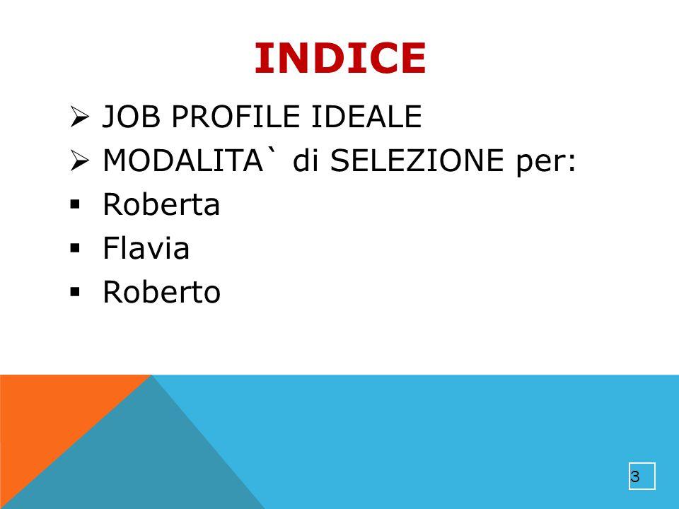INDICE  JOB PROFILE IDEALE  MODALITA` di SELEZIONE per:  Roberta  Flavia  Roberto 3