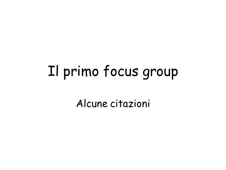 Il primo focus group Alcune citazioni
