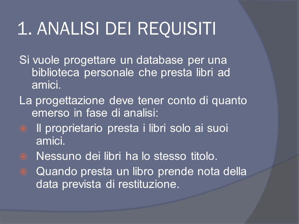 1. ANALISI DEI REQUISITI Si vuole progettare un database per una biblioteca personale che presta libri ad amici. La progettazione deve tener conto di