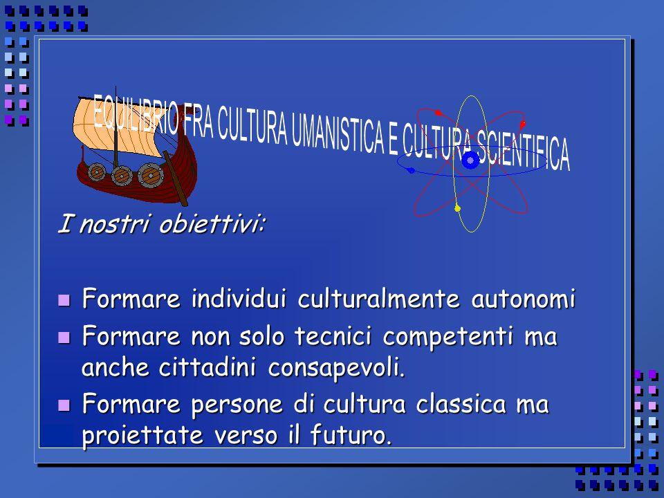 I nostri obiettivi: n Formare individui culturalmente autonomi n Formare non solo tecnici competenti ma anche cittadini consapevoli.