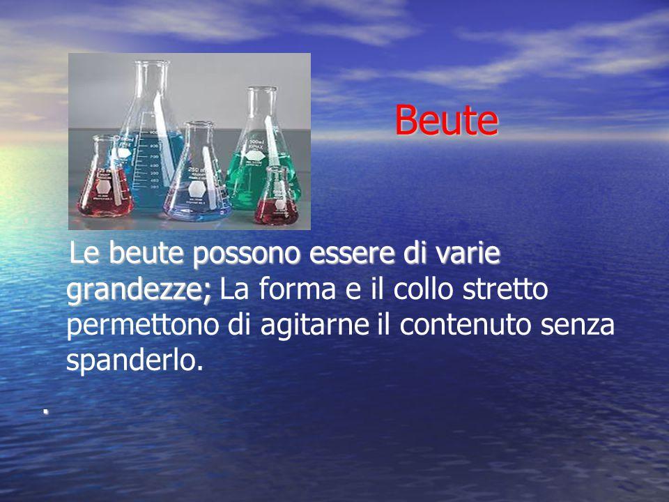 Beute Beute Le beute possono essere di varie grandezze; Le beute possono essere di varie grandezze; La forma e il collo stretto permettono di agitarne