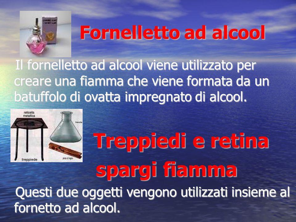 Fornelletto ad alcool Fornelletto ad alcool Il fornelletto ad alcool viene utilizzato per creare una fiamma che viene formata da un batuffolo di ovatt