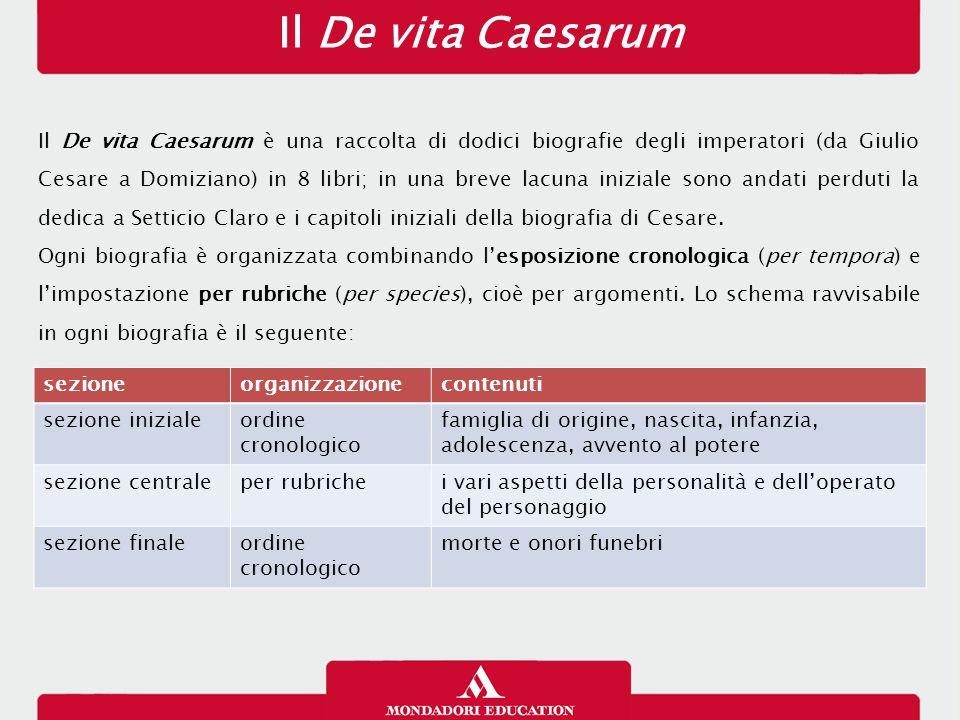 Il De vita Caesarum Il De vita Caesarum è una raccolta di dodici biografie degli imperatori (da Giulio Cesare a Domiziano) in 8 libri; in una breve la