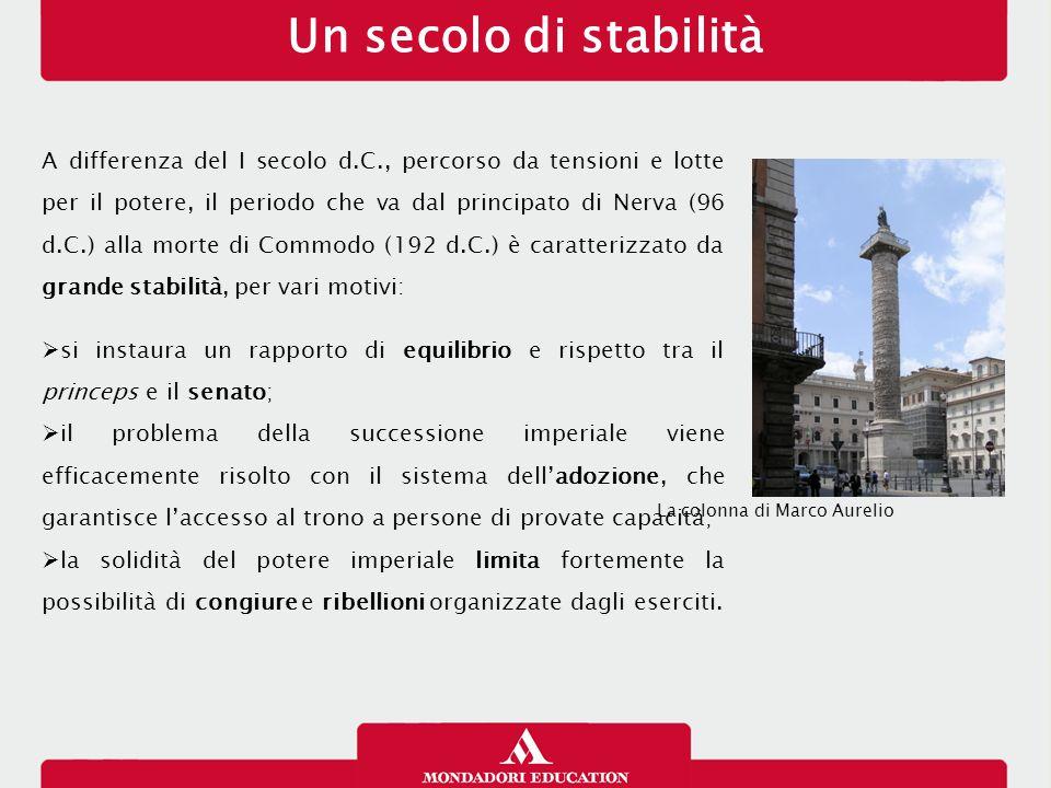 Nerva (96-98 d.C.) Morto Domiziano nel 96 d.C., il senato designa come suo successore Marco Cocceio Nerva, anziano senatore senza figli.