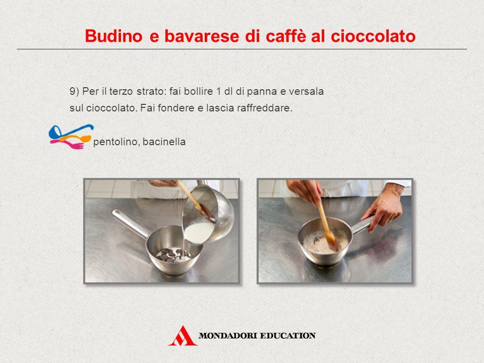 9) Per il terzo strato: fai bollire 1 dl di panna e versala sul cioccolato. Fai fondere e lascia raffreddare. pentolino, bacinella Budino e bavarese d