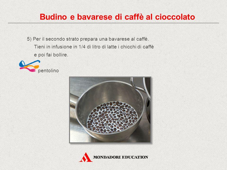 5) Per il secondo strato prepara una bavarese al caffè. Tieni in infusione in 1/4 di litro di latte i chicchi di caffè e poi fai bollire. pentolino Bu