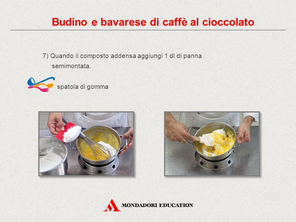 7) Quando il composto addensa aggiungi 1 dl di panna semimontata. spatola di gomma Budino e bavarese di caffè al cioccolato