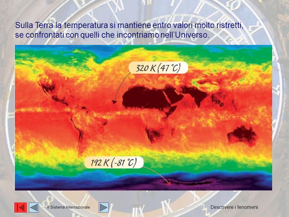 La temperatura Sulla Terra la temperatura si mantiene entro valori molto ristretti, se confrontati con quelli che incontriamo nell'Universo.