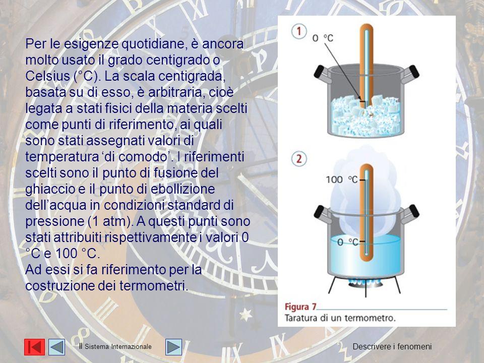 La temperatura Per le esigenze quotidiane, è ancora molto usato il grado centigrado o Celsius (°C).