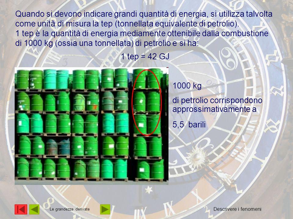 L'energia Quando si devono indicare grandi quantità di energia, si utilizza talvolta come unità di misura la tep (tonnellata equivalente di petrolio).