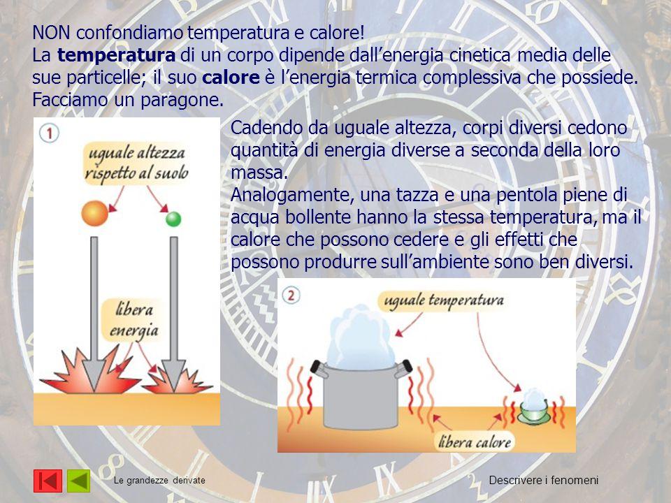 L'energia NON confondiamo temperatura e calore! La temperatura di un corpo dipende dall'energia cinetica media delle sue particelle; il suo calore è l