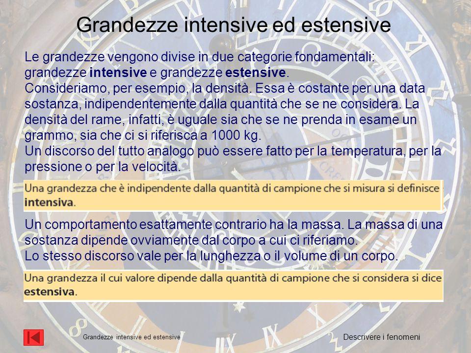 Le grandezze vengono divise in due categorie fondamentali: grandezze intensive e grandezze estensive.