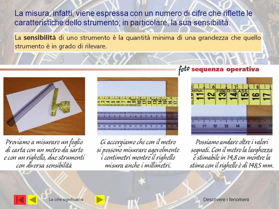 Le cifre significative La misura, infatti, viene espressa con un numero di cifre che riflette le caratteristiche dello strumento; in particolare, la s