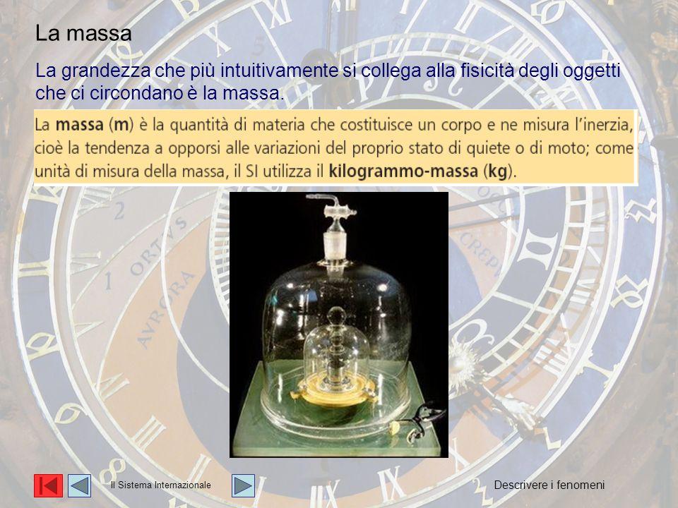 La grandezza che più intuitivamente si collega alla fisicità degli oggetti che ci circondano è la massa. Il Sistema Internazionale La massa Descrivere