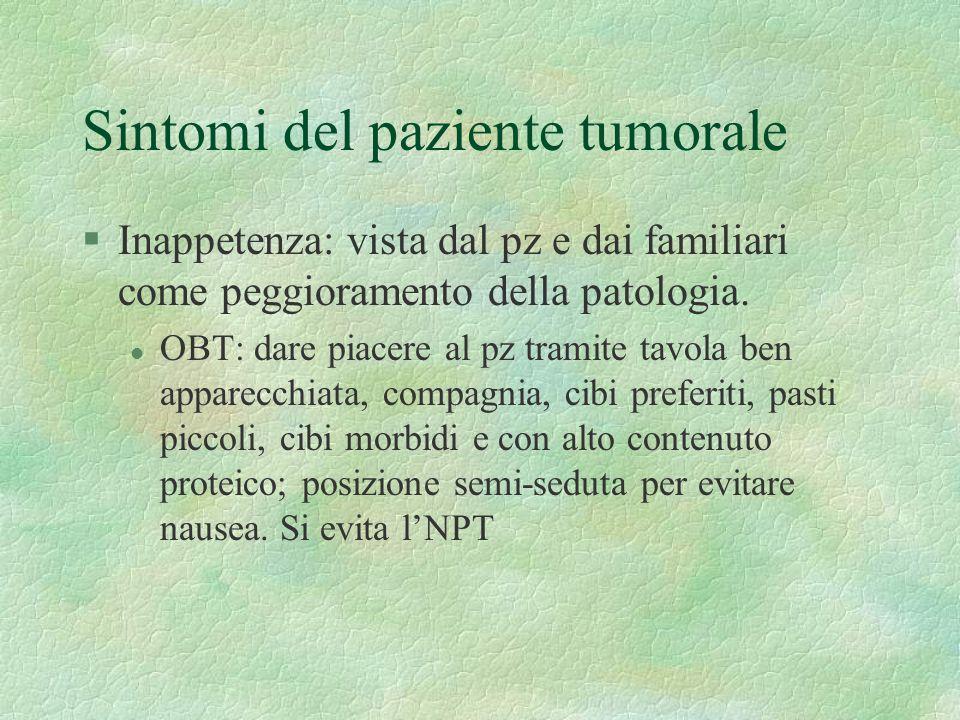 Sintomi del paziente tumorale §Inappetenza: vista dal pz e dai familiari come peggioramento della patologia.