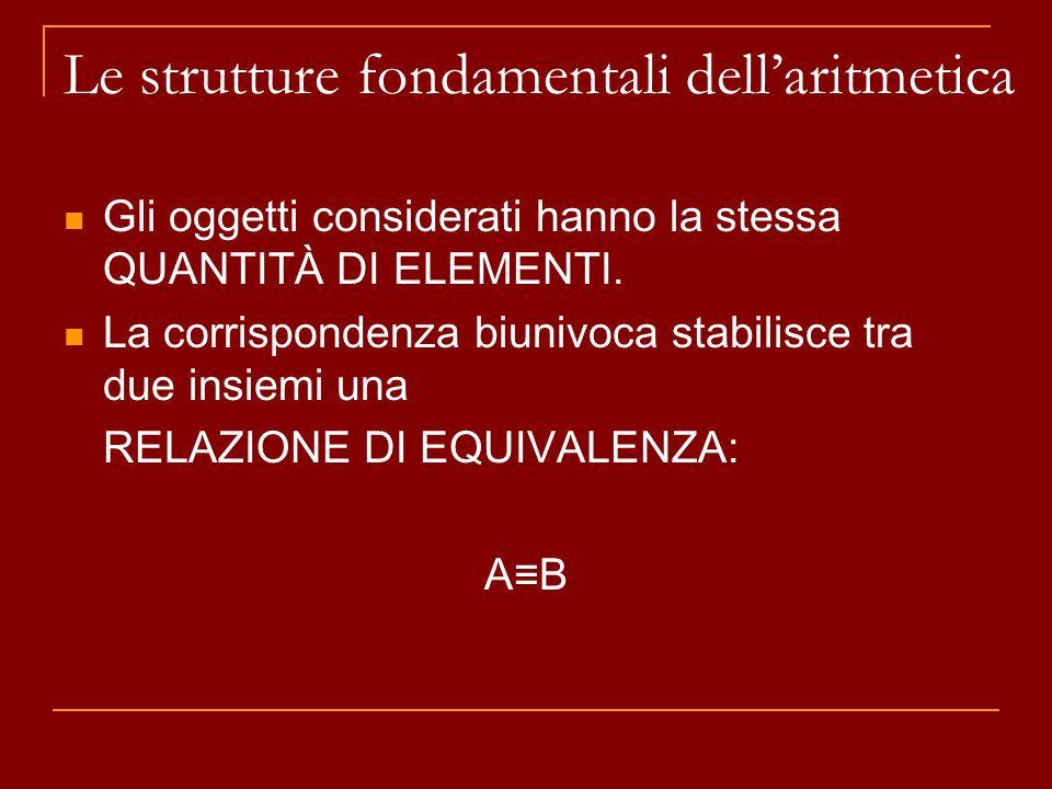 Le strutture fondamentali dell'aritmetica Gli oggetti considerati hanno la stessa QUANTITÀ DI ELEMENTI. La corrispondenza biunivoca stabilisce tra due