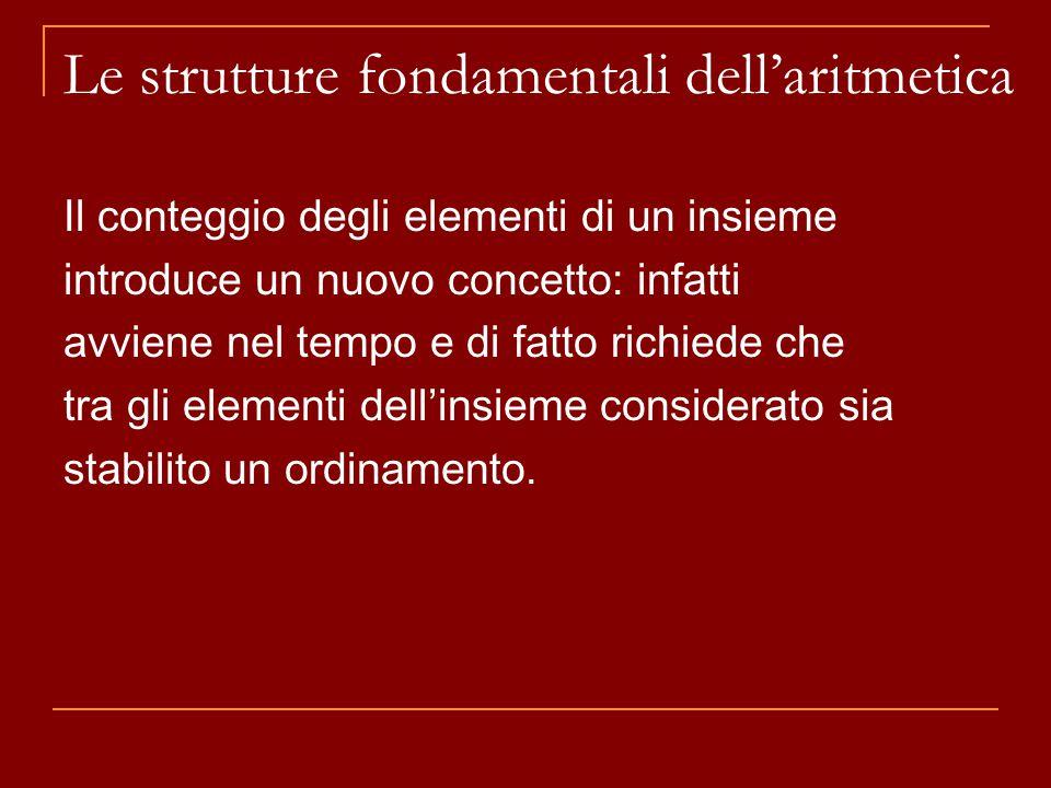 Il conteggio degli elementi di un insieme introduce un nuovo concetto: infatti avviene nel tempo e di fatto richiede che tra gli elementi dell'insieme