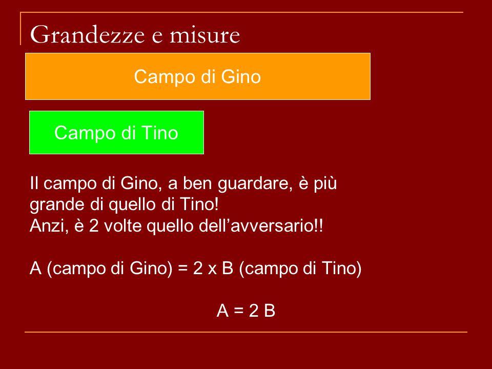 Grandezze e misure Il campo di Gino, a ben guardare, è più grande di quello di Tino! Anzi, è 2 volte quello dell'avversario!! A (campo di Gino) = 2 x