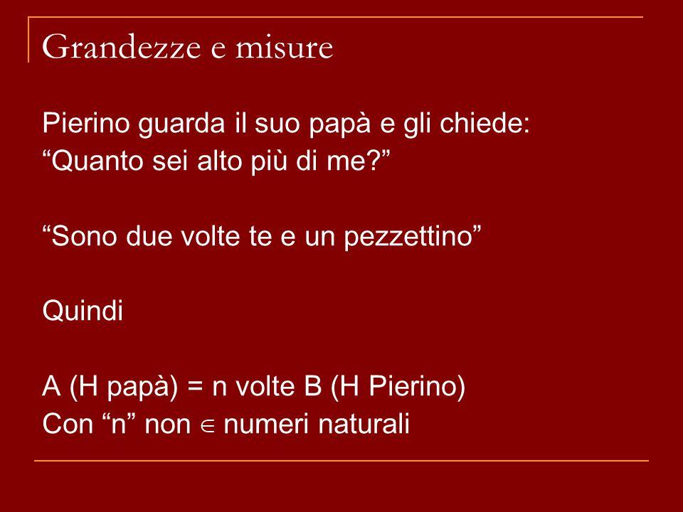 """Grandezze e misure Pierino guarda il suo papà e gli chiede: """"Quanto sei alto più di me?"""" """"Sono due volte te e un pezzettino"""" Quindi A (H papà) = n vol"""
