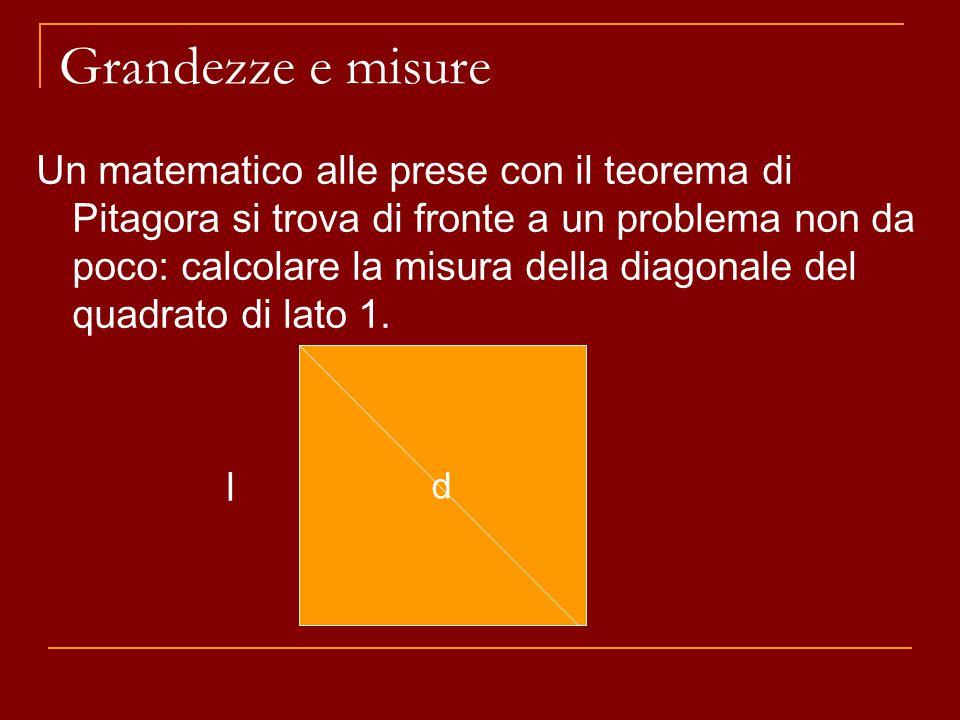 Grandezze e misure Un matematico alle prese con il teorema di Pitagora si trova di fronte a un problema non da poco: calcolare la misura della diagonale del quadrato di lato 1.