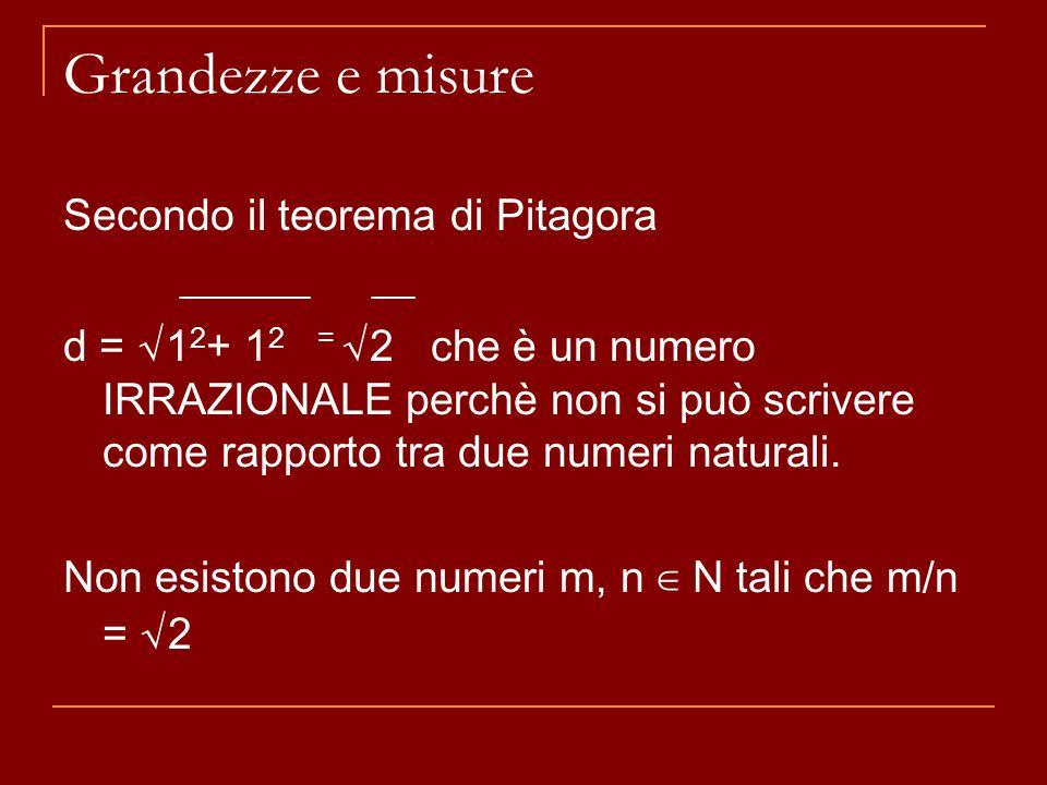 Grandezze e misure Secondo il teorema di Pitagora ______ __ d = √ 1 2 + 1 2 = √ 2 che è un numero IRRAZIONALE perchè non si può scrivere come rapporto