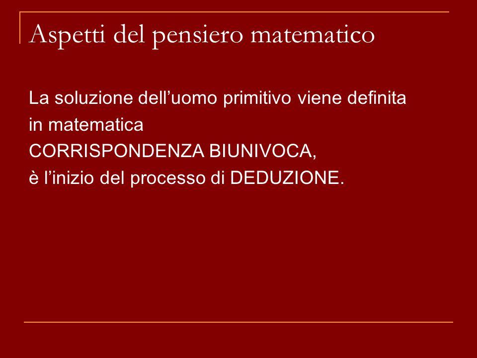 Aspetti del pensiero matematico La soluzione dell'uomo primitivo viene definita in matematica CORRISPONDENZA BIUNIVOCA, è l'inizio del processo di DEDUZIONE.