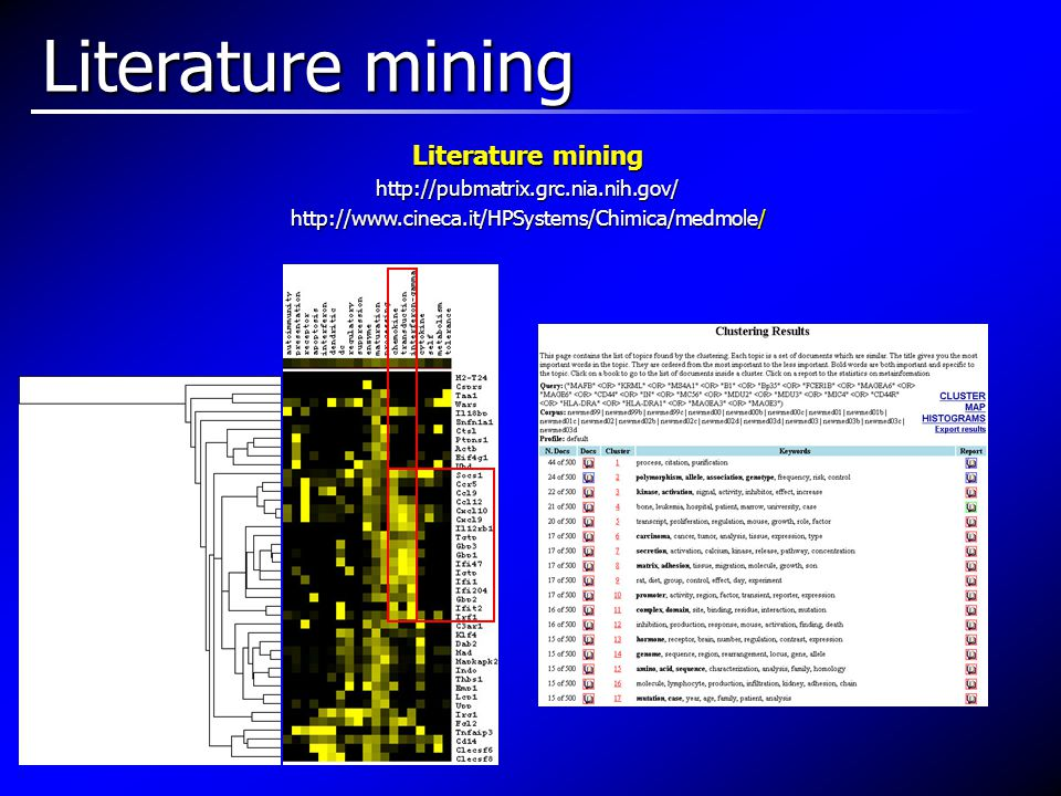 Literature mining http://pubmatrix.grc.nia.nih.gov/ http://www.cineca.it/HPSystems/Chimica/medmole/ Literature mining