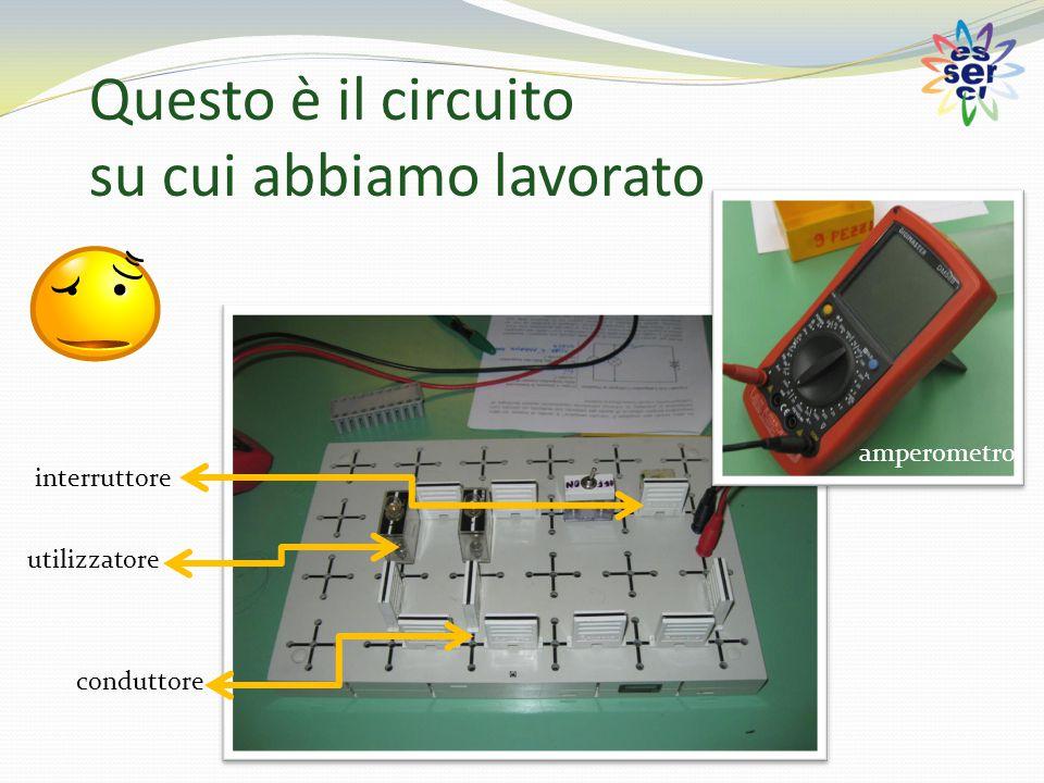 Questo è il circuito su cui abbiamo lavorato conduttore interruttore amperometro utilizzatore