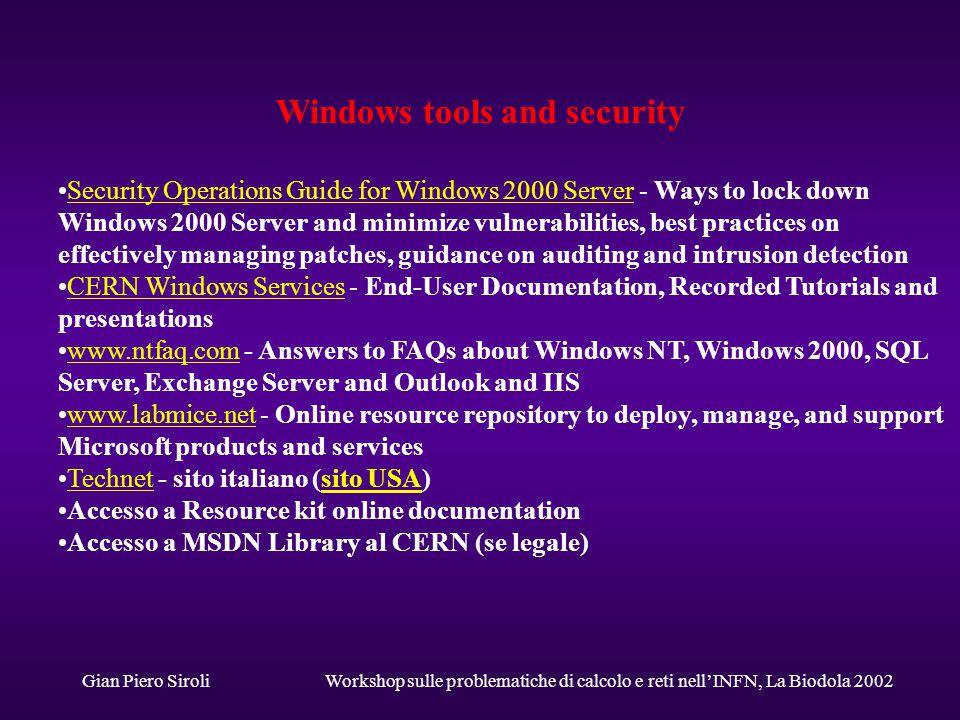 Gian Piero SiroliWorkshop sulle problematiche di calcolo e reti nell'INFN, La Biodola 2002 Futuro u Gestione ottimizzata, coordinata o anche solo coerente dei sistemi Win nell'INFN.