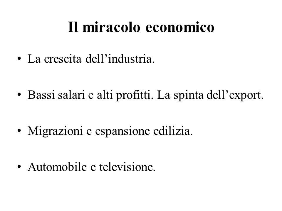 Il miracolo economico La crescita dell'industria.Bassi salari e alti profitti.