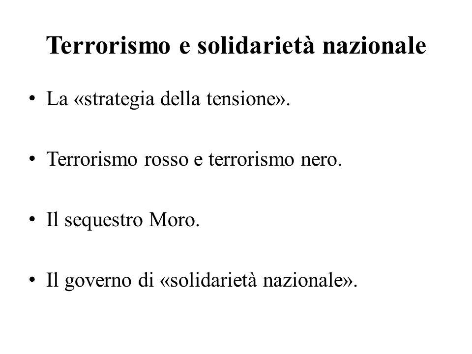 Terrorismo e solidarietà nazionale La «strategia della tensione».