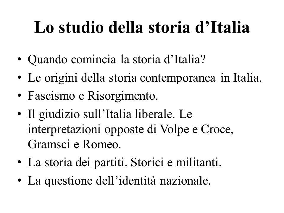 Lo studio della storia d'Italia Quando comincia la storia d'Italia.