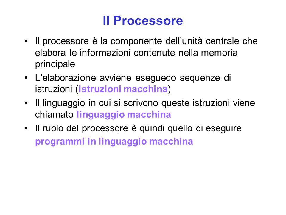 Il Processore Il processore è la componente dell'unità centrale che elabora le informazioni contenute nella memoria principale L'elaborazione avviene
