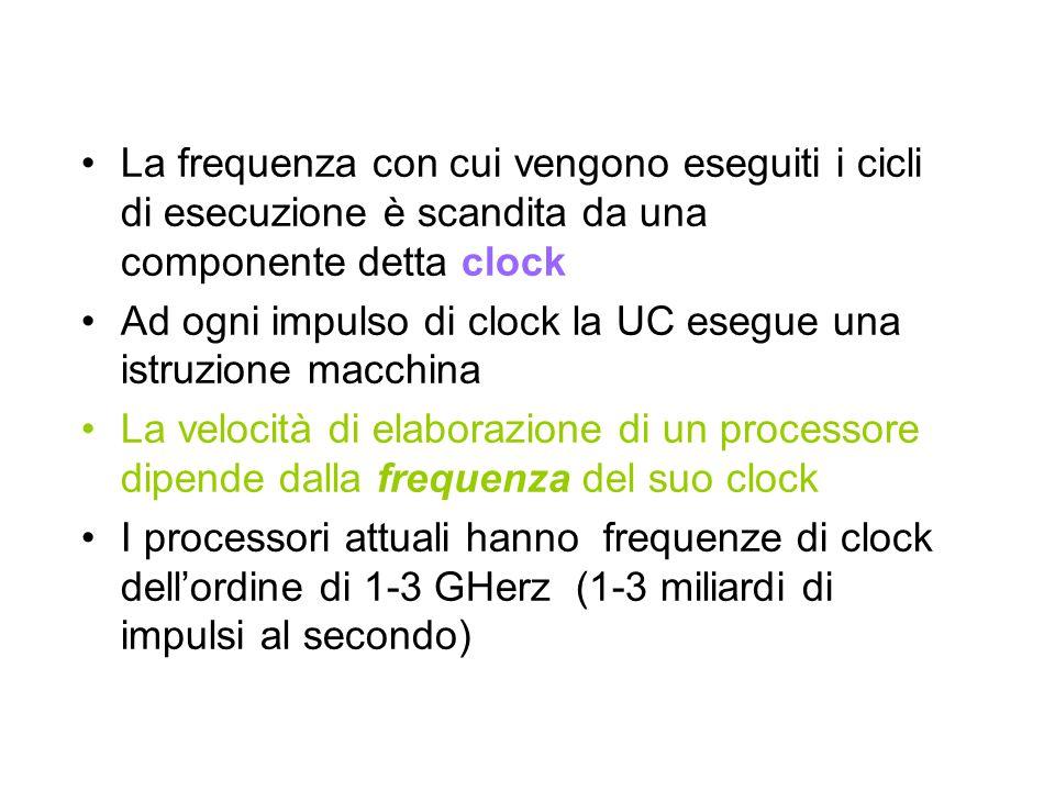 La frequenza con cui vengono eseguiti i cicli di esecuzione è scandita da una componente detta clock Ad ogni impulso di clock la UC esegue una istruzi