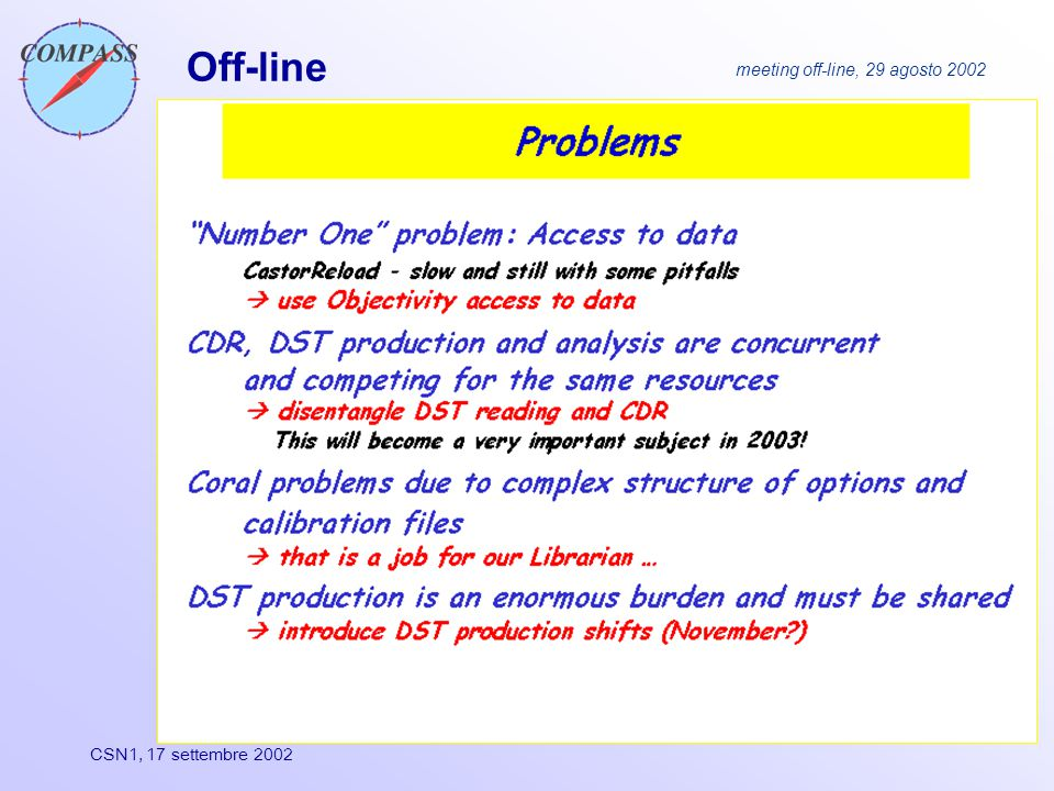 CSN1, 17 settembre 2002 Off-line meeting off-line, 29 agosto 2002