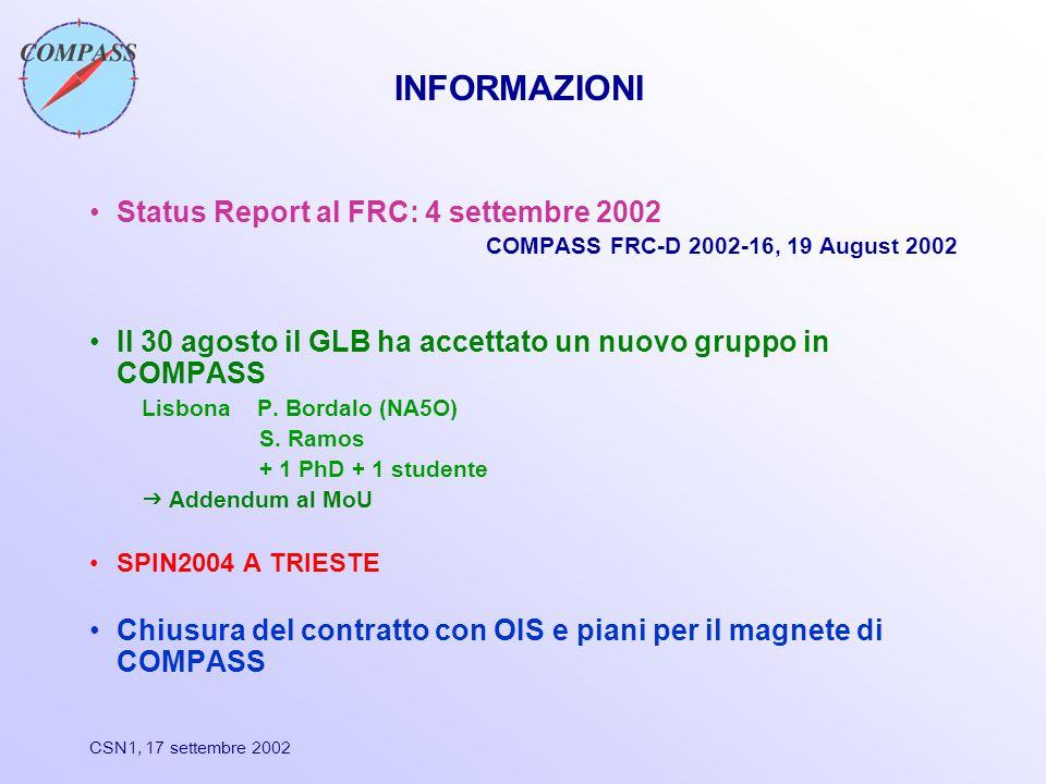 CSN1, 17 settembre 2002 INFORMAZIONI Status Report al FRC: 4 settembre 2002 COMPASS FRC-D 2002-16, 19 August 2002 Il 30 agosto il GLB ha accettato un nuovo gruppo in COMPASS Lisbona P.