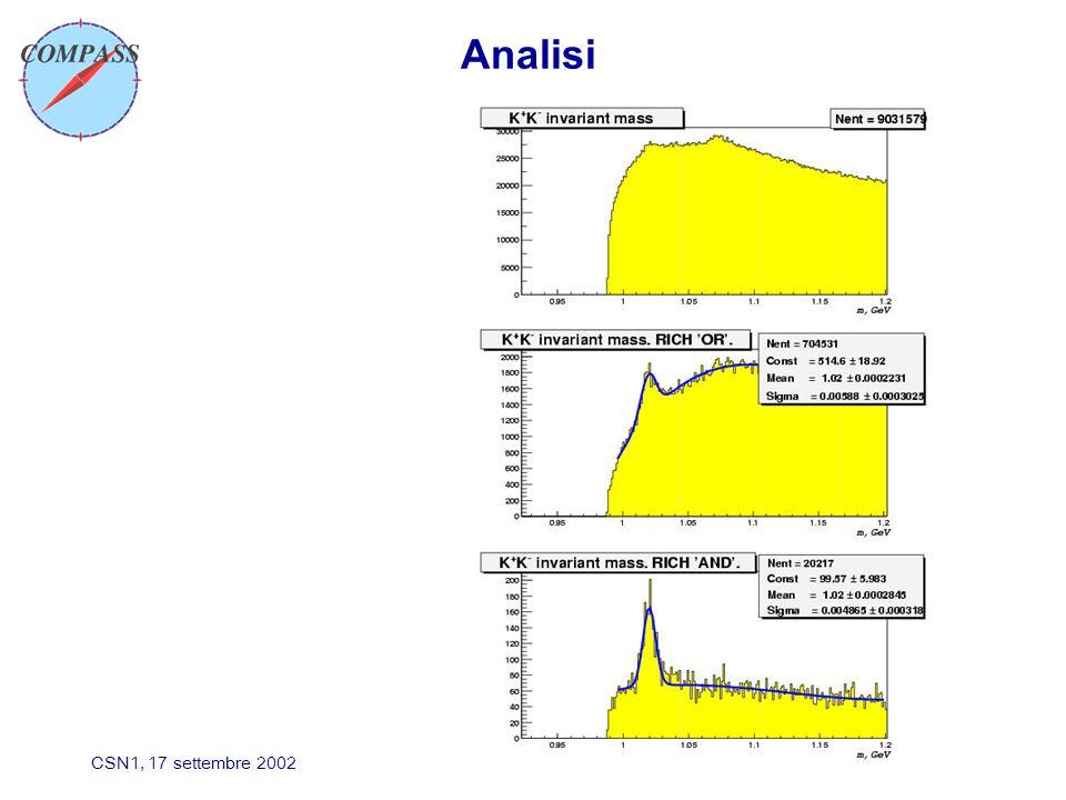 CSN1, 17 settembre 2002 Analisi