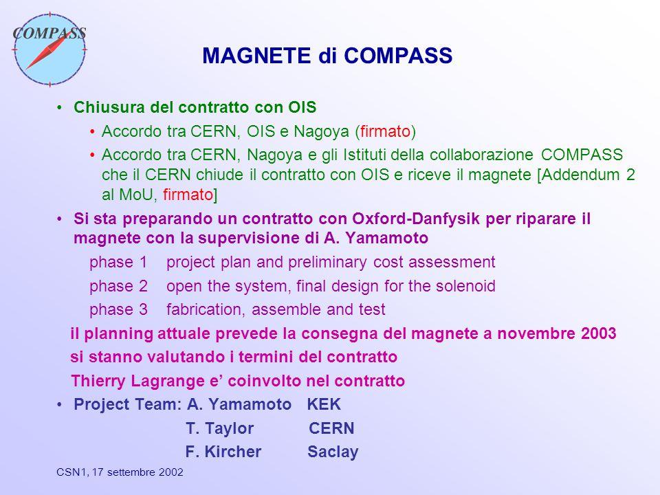 CSN1, 17 settembre 2002 MAGNETE di COMPASS Chiusura del contratto con OIS Accordo tra CERN, OIS e Nagoya (firmato) Accordo tra CERN, Nagoya e gli Istituti della collaborazione COMPASS che il CERN chiude il contratto con OIS e riceve il magnete [Addendum 2 al MoU, firmato] Si sta preparando un contratto con Oxford-Danfysik per riparare il magnete con la supervisione di A.