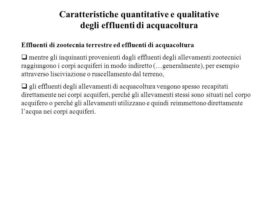 Caratteristiche quantitative e qualitative degli effluenti di acquacoltura Effluenti di zootecnia terrestre ed effluenti di acquacoltura  mentre gli