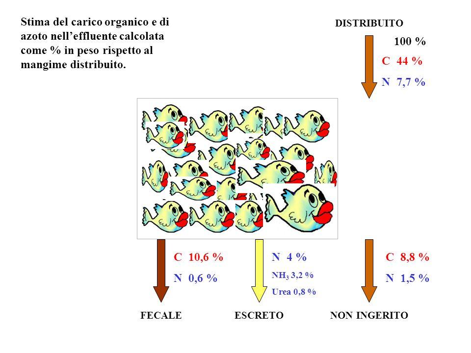 DISTRIBUITO NON INGERITOESCRETOFECALE N 4 % NH 3 3,2 % Urea 0,8 % C10,6 % N0,6 % 100 % C44 % N7,7 % C8,8 % N1,5 % Stima del carico organico e di azoto