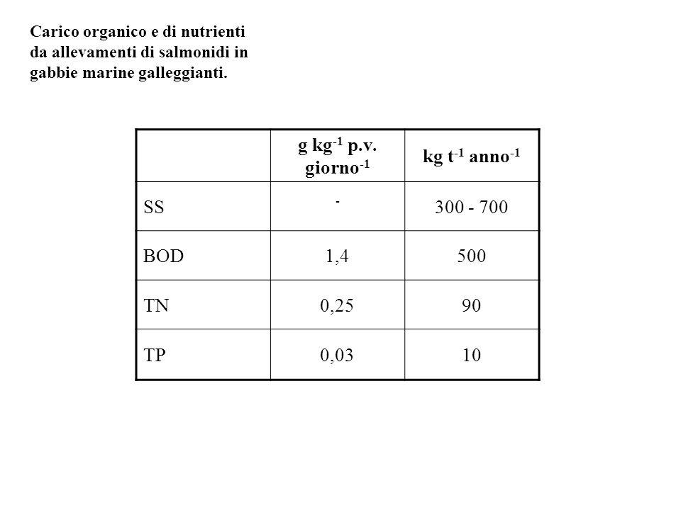 g kg -1 p.v. giorno -1 kg t -1 anno -1 SS - 300 - 700 BOD1,4500 TN0,2590 TP0,0310 Carico organico e di nutrienti da allevamenti di salmonidi in gabbie