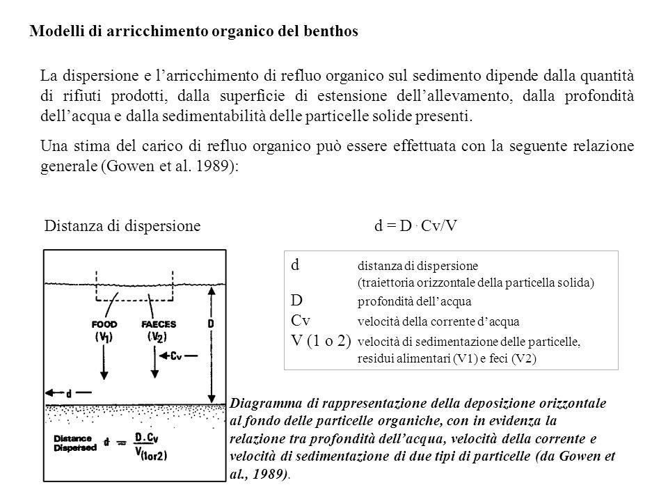 Modelli di arricchimento organico del benthos La dispersione e l'arricchimento di refluo organico sul sedimento dipende dalla quantità di rifiuti prod