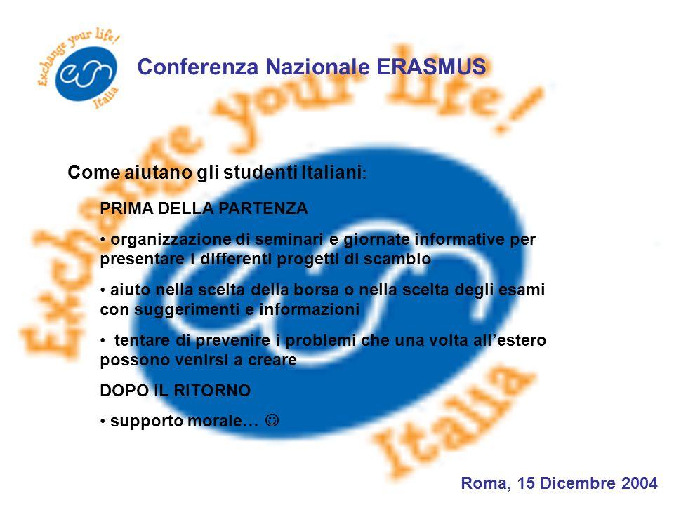 Conferenza Nazionale ERASMUS Roma, 15 Dicembre 2004 PRIMA DELLA PARTENZA organizzazione di seminari e giornate informative per presentare i differenti