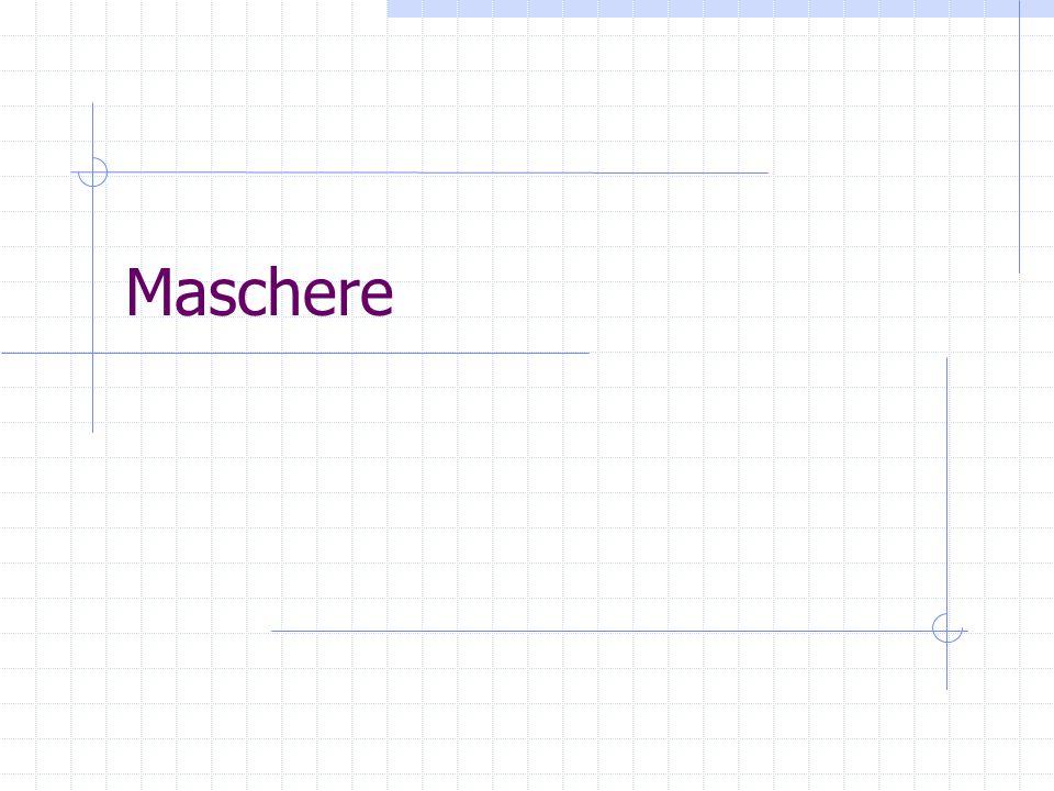 Creare una maschere Dopo aver scelto la tabella, in basso viene visualizzato l'elenco di campi Pulsante >: portare il campo selezionato nella maschere Pulsante >>: portare tutti i campi della tabella nella maschera