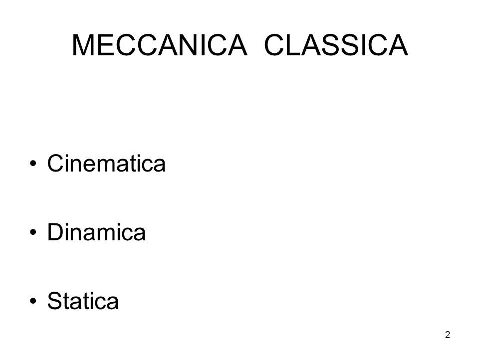 2 MECCANICA CLASSICA Cinematica Dinamica Statica