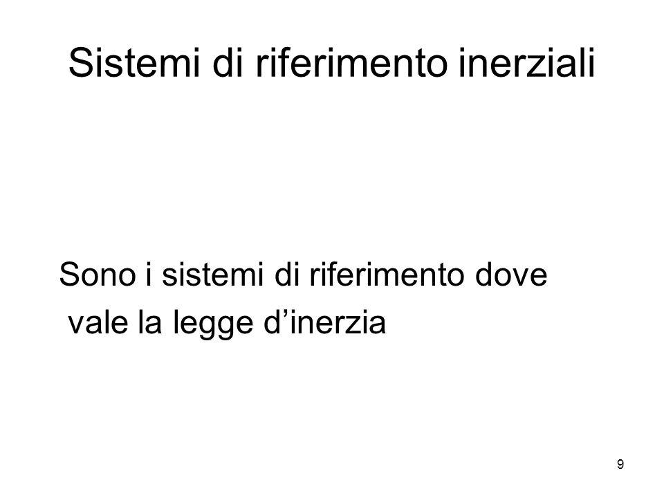 9 Sistemi di riferimento inerziali Sono i sistemi di riferimento dove vale la legge d'inerzia