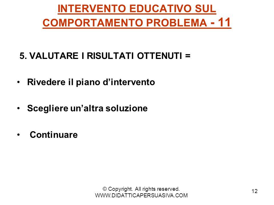 12 INTERVENTO EDUCATIVO SUL COMPORTAMENTO PROBLEMA - 11 5. VALUTARE I RISULTATI OTTENUTI = Rivedere il piano d'intervento Scegliere un'altra soluzione