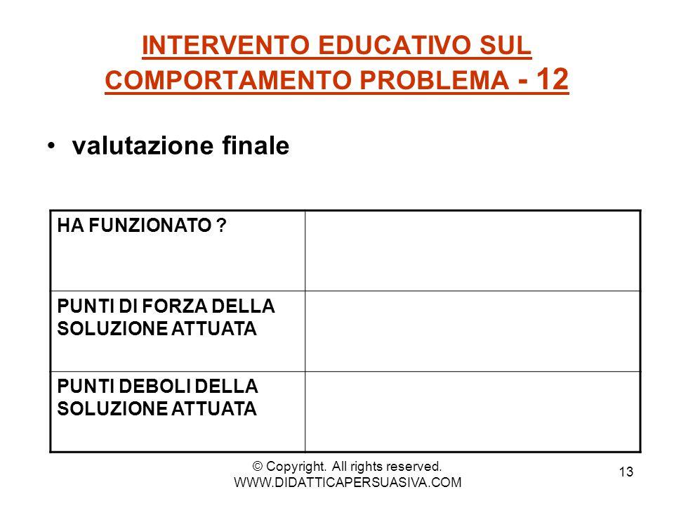 13 INTERVENTO EDUCATIVO SUL COMPORTAMENTO PROBLEMA - 12 valutazione finale HA FUNZIONATO ? PUNTI DI FORZA DELLA SOLUZIONE ATTUATA PUNTI DEBOLI DELLA S