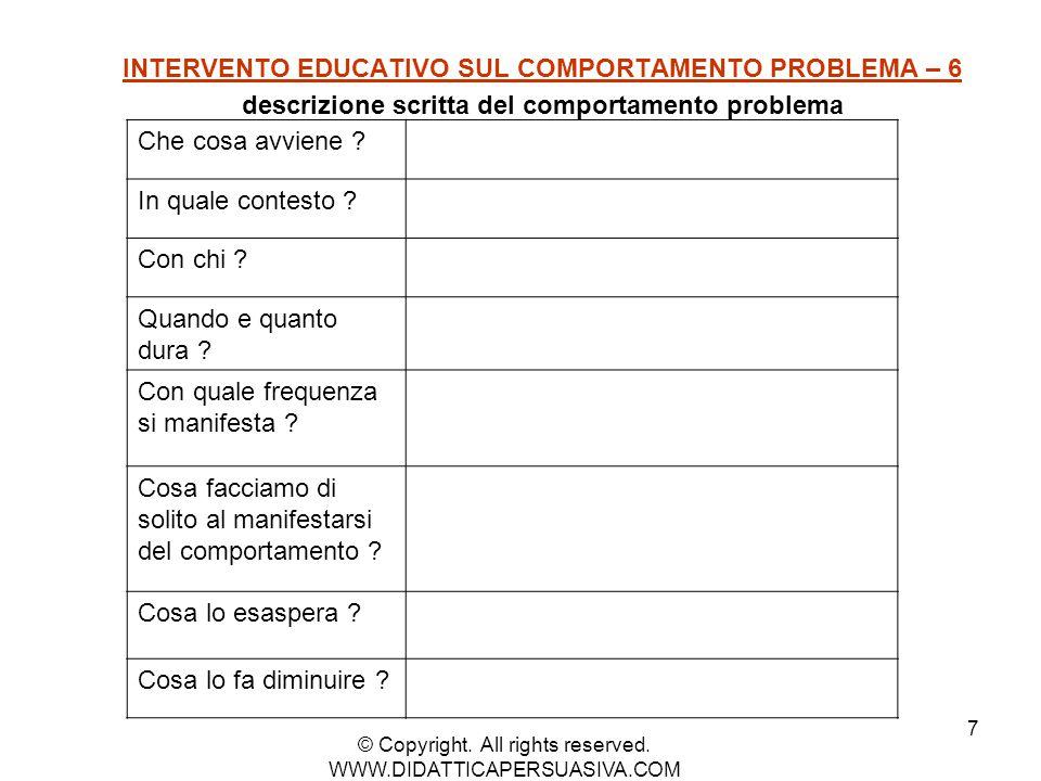 7 INTERVENTO EDUCATIVO SUL COMPORTAMENTO PROBLEMA – 6 descrizione scritta del comportamento problema Che cosa avviene ? In quale contesto ? Con chi ?
